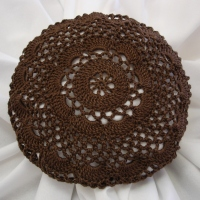 Sz Large Crocheted Brown Hair Net / Bun Cover Flower Style Amish Mennonite