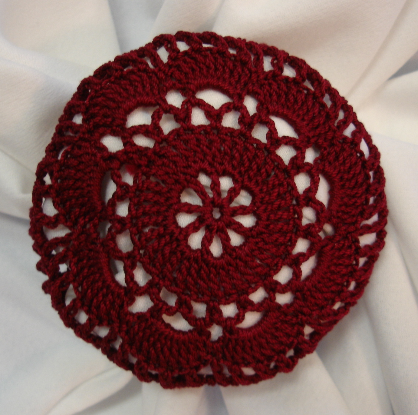 Crochet Hair Net Bun Cover Pattern : Burgundy Crocheted Hair Net Bun Cover Amish Mennonite merrydeals4u