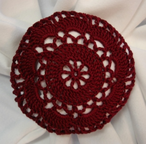 Burgundy Crocheted Hair Net Bun Cover Amish Mennonite