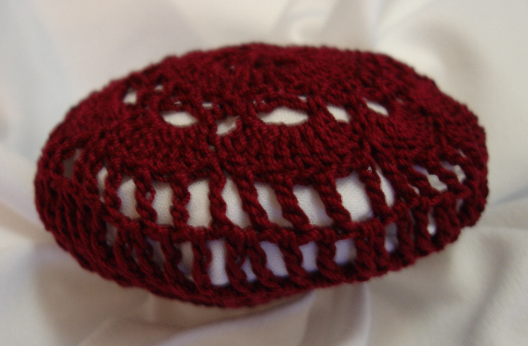 Crochet Hair Cover : Burgundy Crocheted Hair Net Bun Cover Amish Mennonite merrydeals4u