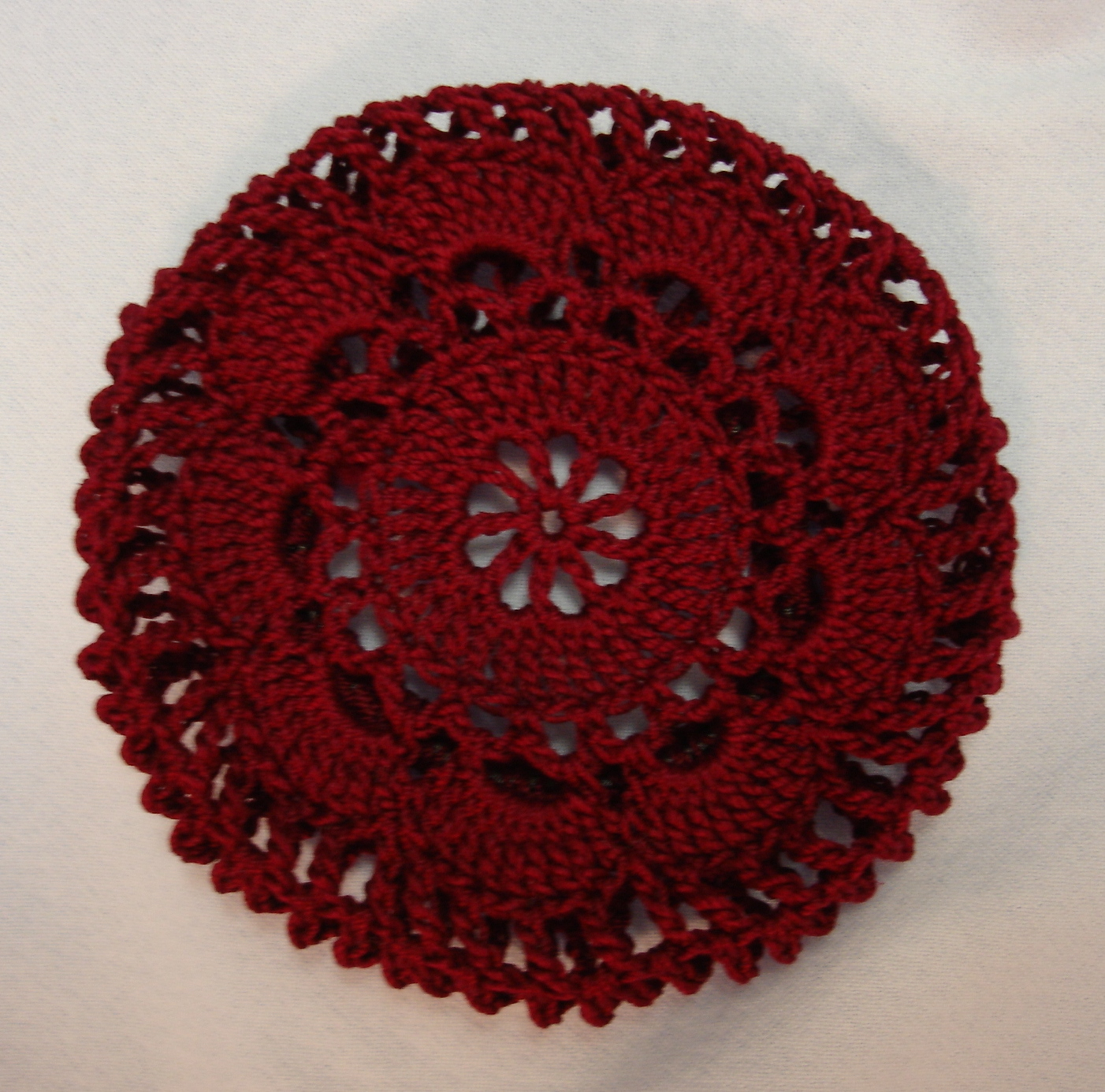 Crochet Hair Net : Burgundy Crocheted Hair Net Bun Cover Amish Mennonite merrydeals4u