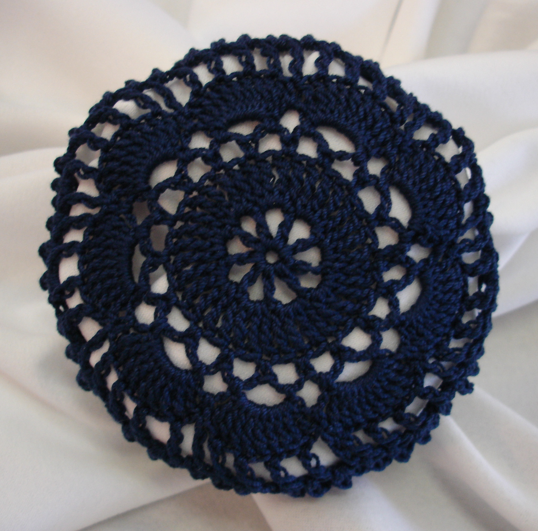 Crochet Hair Net Free Pattern : Navy Blue Crocheted Hair Net Bun Cover Amish Mennonite merrydeals4u