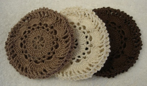 Set of 3 Crocheted Hair Net / Bun Covers Flower Style